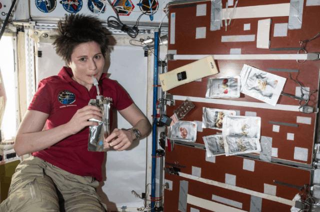 astronaut having a drink